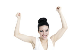 Happy winner. success business woman Stock Photography