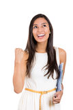 Happy winner. success business woman, student celebrating screaming, joy winning. Stock Photos