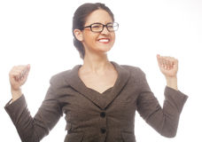 Happy winner. Successful business woman celebrating with arms up Royalty Free Stock Photos