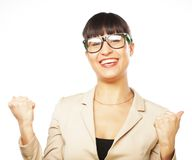 Happy winner. Successful business woman celebrating with arms up Stock Image