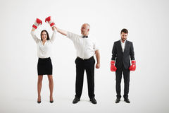 Happy winner woman in boxer gloves Royalty Free Stock Image