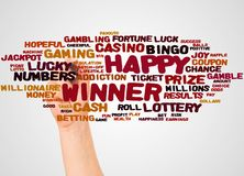 Happy Winner word cloud and hand with marker concept. On white background royalty free stock photos