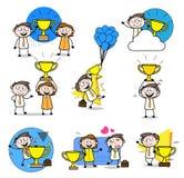 Happy Winners Cartoon Professional Businessman set. Design royalty free illustration