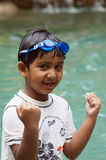 Happy winning swimmer Stock Photos