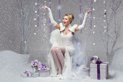 Happy winter bride stock photography