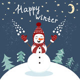 Happy winter card with enjoying snowman in vector Stock Images