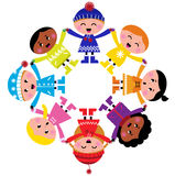 Happy winter cartoon kids in circle. Colorful winter children in group. Vector illustration in retro style Stock Photography