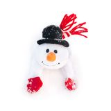Happy winter christmas snowman with carrot in black hat Stock Image