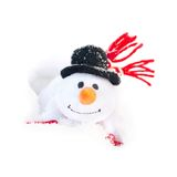 Happy winter christmas snowman with carrot in black hat Royalty Free Stock Photo