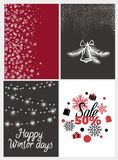Happy Winter Days Sale Half Price, Fifty Percent. Discount vector illustration backgrounds with bell and feathers and snowflakes and text Royalty Free Stock Photos