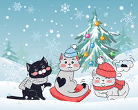 Happy Winter Friends. Three Little Cats. Vector royalty free illustration