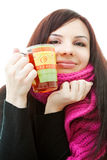 Happy winter girl. Girl in pink scarf holding cup of tea Royalty Free Stock Photos