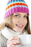 Happy Winter Girl drinking hot tea Stock Photography