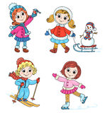 Happy winter girls Stock Photography