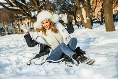 Happy winter holiday. Beautiful winter woman outdoor royalty free stock photography