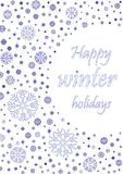 Happy winter holiday card with blue snowflakes isolated on the white background, vertical vector Stock Photography