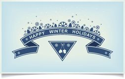 Happy winter holiday greeting design element. Happy winter holiday greeting card with ribbon design and snowy composition on light blue background. illustration Stock Illustration
