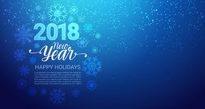 Happy Winter Holidays 2018 Background Glittering Snowflakes On Blue New Year Decoration Design. Vector Illustration stock illustration