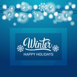 Happy Winter Holidays Banner Beautiful Snowflakes Over Blue Background Royalty Free Stock Images