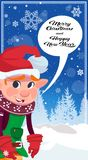 Happy Winter Holidays Cute Green Elf Over Winter Forest Merry Christmas And New Year Banner Stock Images