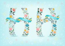 Happy Holidays. Floral Letters with Blue Ribbons. Happy Winter Holidays. Floral letters. Blue ribbons with golden back and white texts. Graceful watercolor Royalty Free Stock Photos