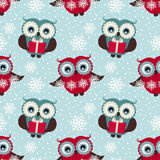Happy winter holidays!  Seamless pattern with owls. Vector backg Royalty Free Stock Photos