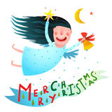 Happy winter holidays smiling angel girl holding star and bell flying with moon Merry Christmas text Stock Images