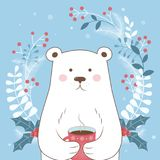 Happy winter holidays. Winter time. Vector illustration. Postcard Happy winter. The image of a polar bear on a blue background. Vecor Royalty Free Stock Image