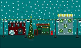 Winter time christmas snow cosy houses decoration tree lights Royalty Free Stock Images