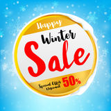 Happy winter sale tex on circle frame with winter snow flake   Royalty Free Stock Photography