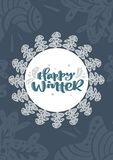 Happy winter scandinavian xmas vector calligraphy lettering text in Christmas greeting card design. Hand drawn stock illustration