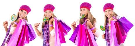 Happy winter shopping Royalty Free Stock Photo
