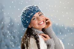 Happy winter with snow Stock Photo