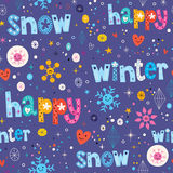 Happy winter snow seamless pattern Stock Photos