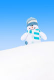 Happy winter snowman against blue sky Stock Photos