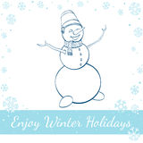 Happy Winter Snowman Isolated On White Background royalty free illustration