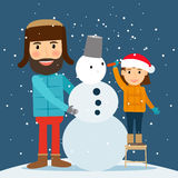 Happy winter time. Snowman, dad and daughter Royalty Free Stock Photo