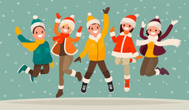 Happy winter vacation. Warmly dressed people in the jump. The co. Ncept of active rest and joyful pastime. Vector illustration in a flat style Stock Image