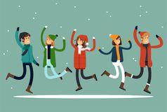 Happy winter vacation. Warmly dressed people in the jump. The concept of active rest and joyful pastime. Vector. Illustration in a flat style Royalty Free Stock Images