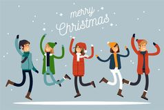 Happy winter vacation. Warmly dressed people in the jump. Merry chrismas vocation. Vector illustration. In a flat style Stock Photo
