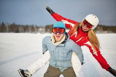Happy winter vacations Stock Images