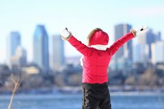 Happy winter woman in city Royalty Free Stock Photo