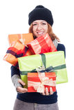 Happy winter woman with many presents Royalty Free Stock Photo