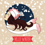 happy winter woman, snowing card Stock Photo