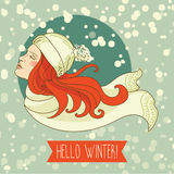 Happy winter woman, snowing card Royalty Free Stock Images