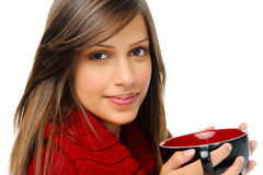 Happy winter woman with soup Stock Photos