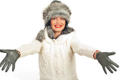 Happy winter woman welcoming Stock Image