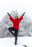Happy Winter Yoga Stock Images