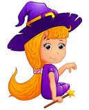 Happy witch Cartoon sitting Royalty Free Stock Image