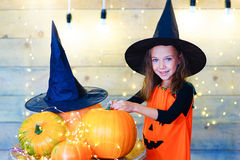 Happy witch children during Halloween party Stock Photography
